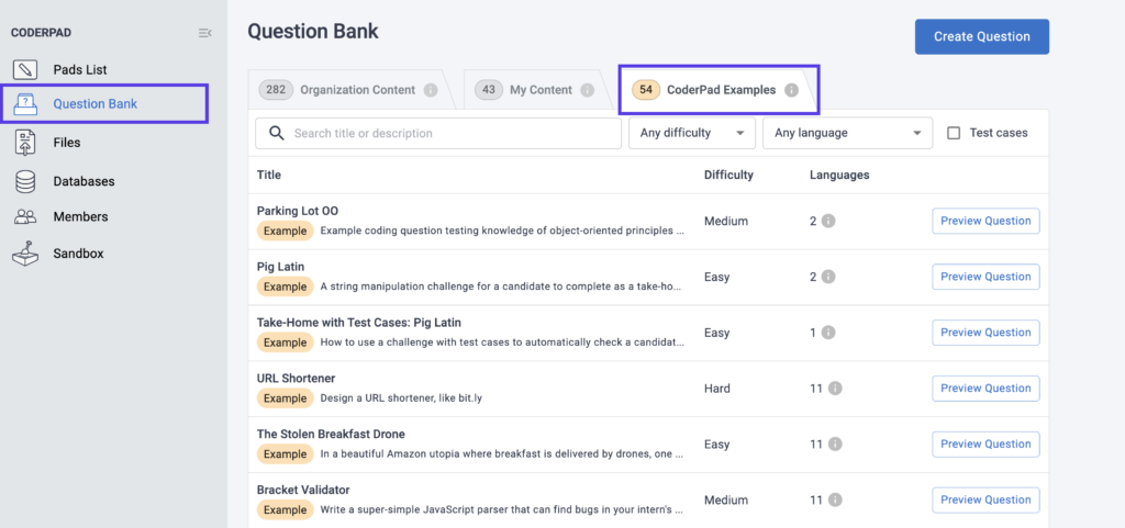 CoderPad Question Bank Example Questions Tab