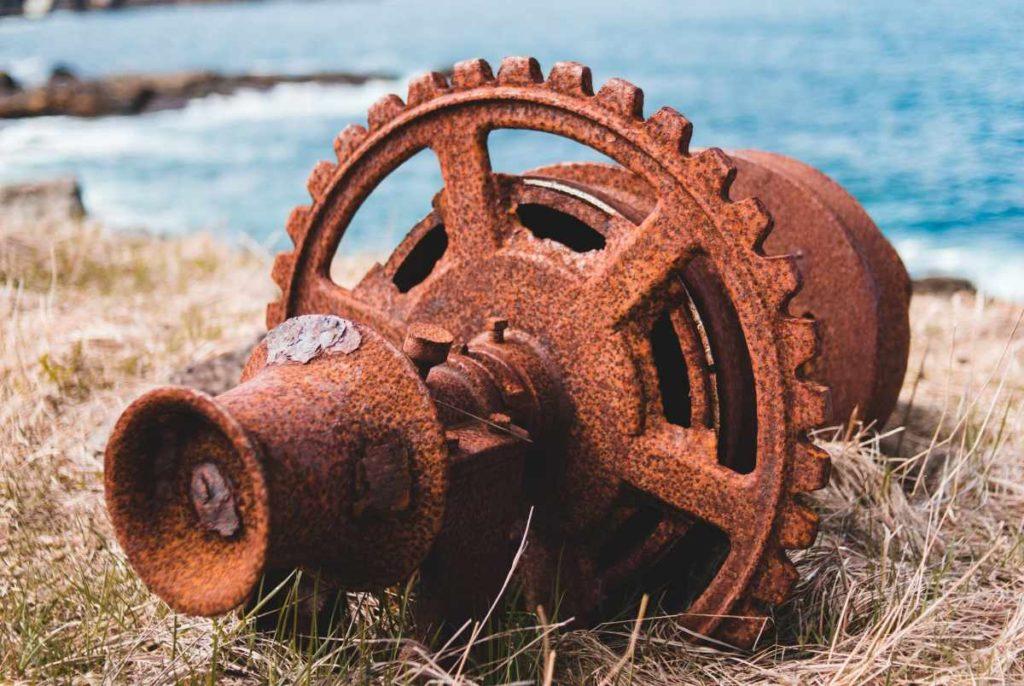 Rusty engine car part