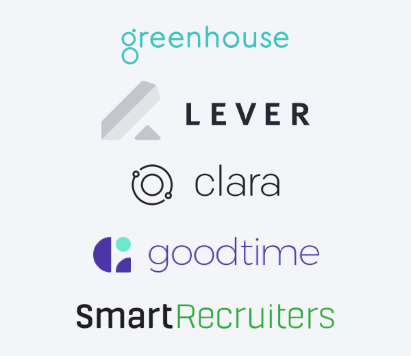 Logos of companies CoderPad integrates with including greenhouse, lever, clara, goodtime, and Smart Recruiters