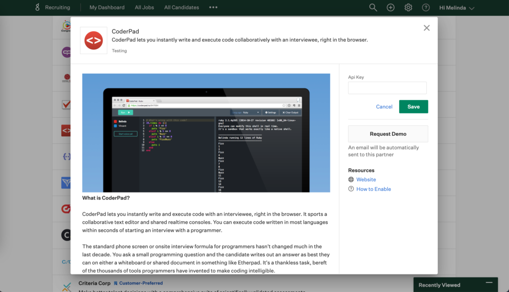 Greenhouse CoderPad API Key for live interview integration