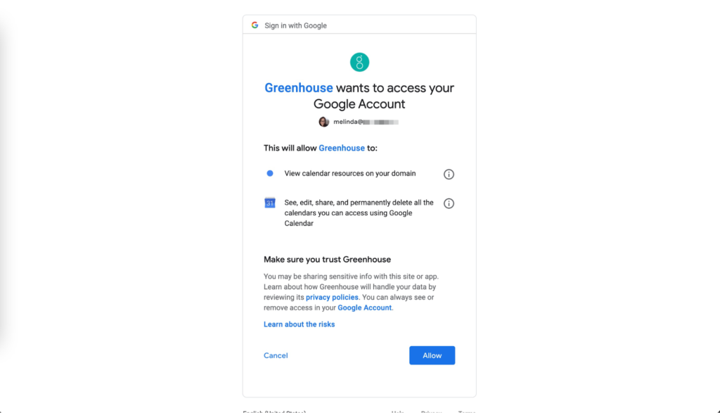 Grant permissions for Greenhouse to access your Google account