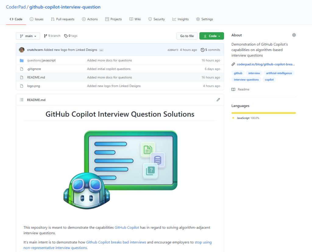 The GitHub Copilot interview questions GitHub repo