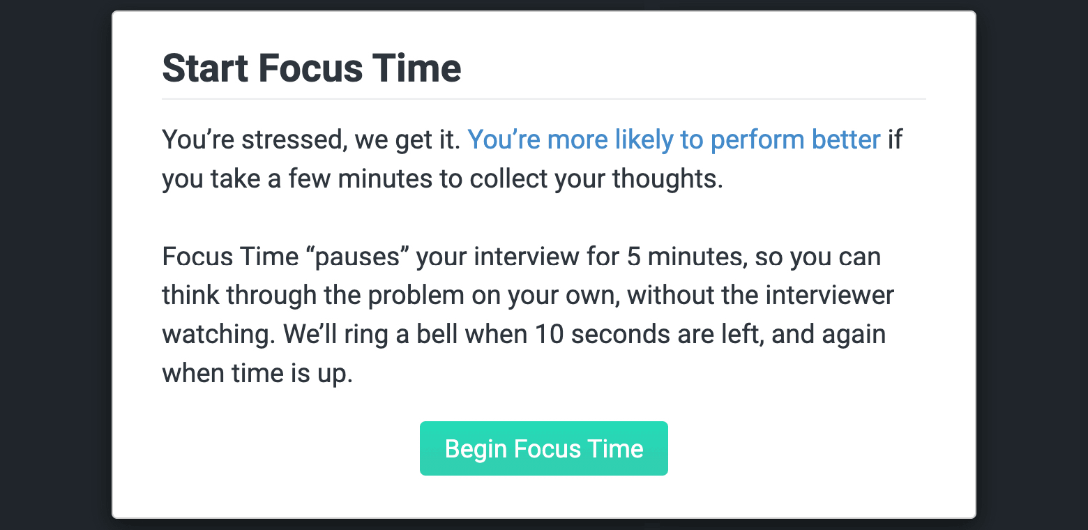 CoderPad Start Focus time prompt for unbiased technical interviewing