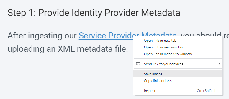 """Context menu on the link to """"Save link as"""" in order to save the file as XML locally"""